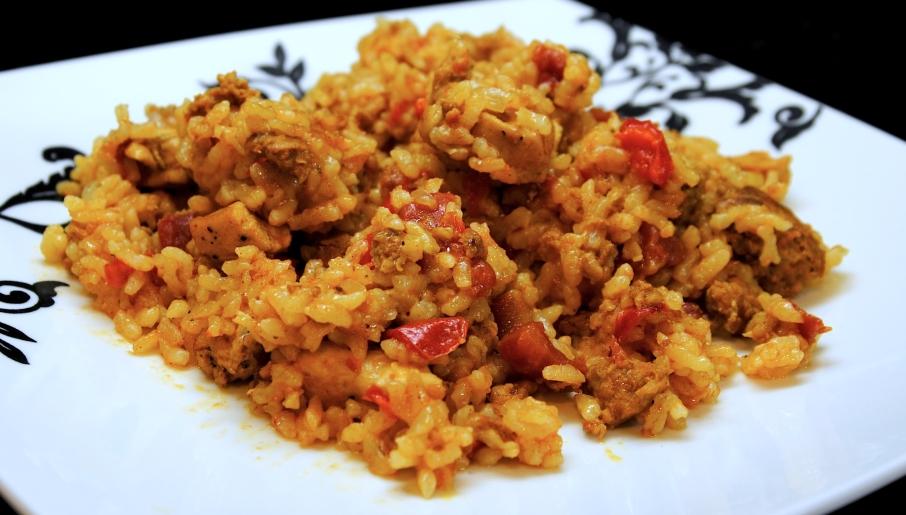 arroz con carne de puerco